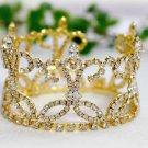 handmade 18K golden bridal small crown veil,wedding headpiece hair accessories tiara regal 841g