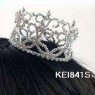 Handmade silver bridal small crown veil,wedding headpiece accessories tiara regal 841s