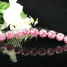Handmade pink daisy bridal silver small comb veil,wedding tiara headpiece accessories regal 8790P