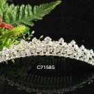 Bridal handmade silver crystal small comb veil,wedding tiara headpiece accessories regal 7158S