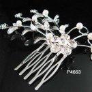 Handmade crystal floral silver small bridal comb wedding tiara headpiece hair accessories 4663S