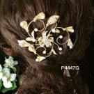 Handmade 18k golden floral Bridal pearl comb veil,wedding tiara headpiece accessories regal 4447G