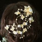 Handmade 18K Golden floral pearl silver bridal comb,wedding tiara headpiece hair accessories 4744G