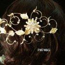 Handmade 18k golden floral silver pearl bridal comb wedding tiara headpiece hair accessories 4746G