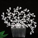 Handmade alloy floral silver pearl bridal comb ,wedding tiara headpiece hair accessories regal PL03