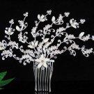 Handmade alloy pearl floral silver bridal comb,wedding tiara headpiece hair accessories regal PL04