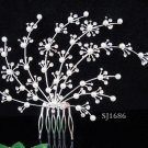 Handmade alloy floral silver pearl bridal comb ,wedding tiara headpiece hair accessories regal 1686