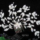Handmade alloy pearl floral silver bridal comb ,wedding tiara headpiece hair accessories regal 1763