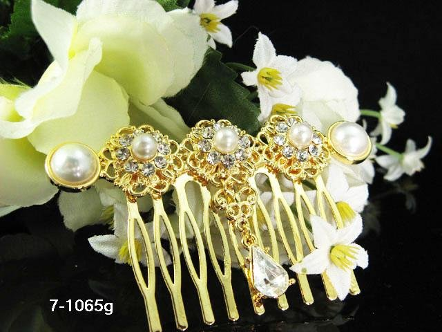 Handmade 18k golden pearl small bridal comb,wedding tiara headpiece hair accessories regal 1065g