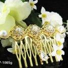 Handmade 18k golden pearl small bridal comb,wedding tiara headpiece hair accessories regal 1065g
