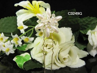 Handmade floral 18K golden bridal comb,wedding tiara headpiece woman hair accessories regal 3249