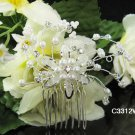 Floral pearl silver bridal comb,wedding tiara headpiece woman hair accessories regal 3312w