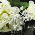 CRYSTAL pearl silver bridal comb,wedding tiara headpiece bridesmaid woman hair accessories 3314
