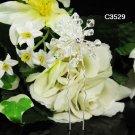 Handmade floral pearl silver bridal comb,wedding tiara headpiece woman accessories 3529