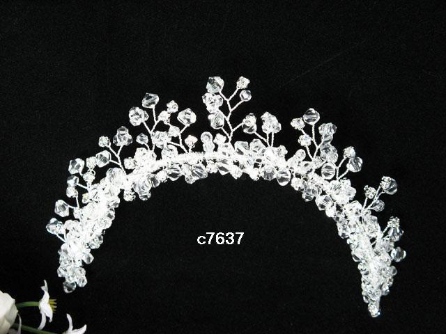 Silver crystal bridal comb,wedding tiara headpiece woman hair accessories regal 7637