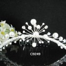 crystal silver pearl bridal comb,wedding tiara headpiece woman hair accessories regal 9249