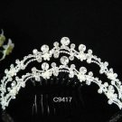 CRYSTAL pearl silver bridal comb,wedding tiara sparkle headpiece hair accessories 9417