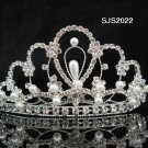 Handmade silver rhinestone crystal pearl bridal comb wedding tiara woman hair accessories 2022