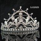 HUGE handmade pearl small crown silver bridal comb,wedding tiara woman hair accessories 2025