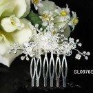 Handmade silver floral crystal bridal comb,wedding woman hair accessories tiara regal SL976s
