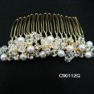 18K GOLDEN handmade pearl bridal comb,wedding headpiece woman hair accessories tiara regal 90112G
