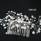 Handmade silver floral pearl bridal comb,wedding headpiece woman hair accessories tiara regal 90125