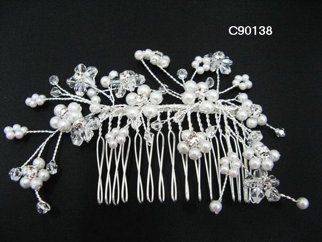 Handmade Bridal silver floral pearl hair comb,wedding headpiece hair accessories tiara regal 90138