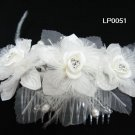 handmade organza pearl floral silver bridal comb,wedding headpiece woman hair accessories tiara lp51