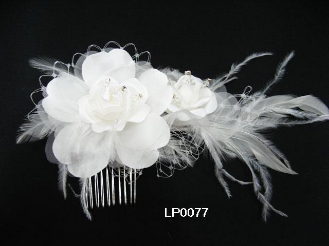 handmade feather organza floral silver bridal comb,wedding headpiece woman accessories tiara lp77