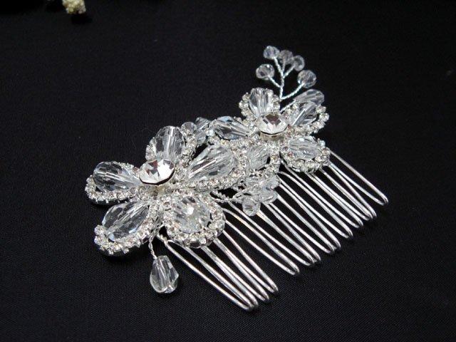 Silver handmade rhinestone bridal small comb,wedding tiara crystal floral hair accessories SL1059