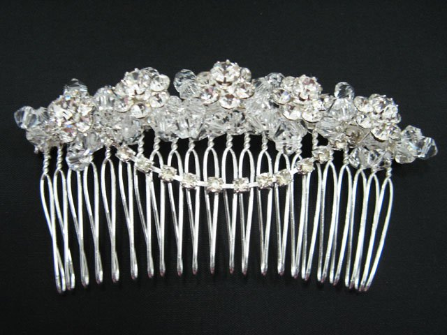 silver handmade rhinestone floral bridal comb,wedding tiara crystal woman hair accessories SL1173