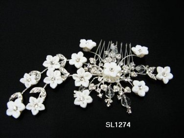 handmade porcelain daisy silver bridal hair comb,wedding tiara crystal woman hair accessories SL1274