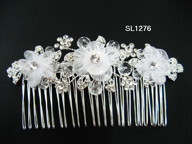 Silver handmade organza floral bridal hair comb,wedding tiara crystal woman hair accessories SL1276