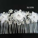 Silver handmade organza floral bridal hair comb,wedding tiara crystal woman hair accessories SL1276