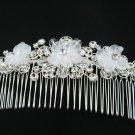 Bridal comb wedding tiara handmade silver floral woman hair accessories regal veil SL1277