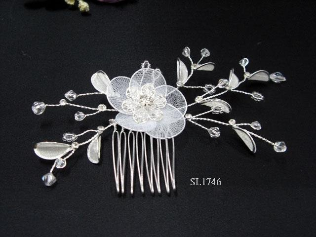 Bridal silver handmade crystal hair comb,wedding tiaraorganza floral hair accessories regal SL1746