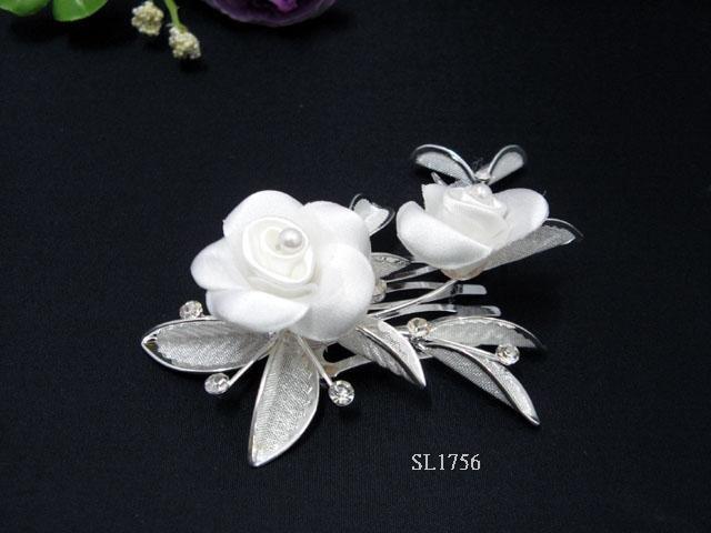 Bridal silver handmade alloy satin floral pearl hair comb,wedding tiara hair accessories regal 1756