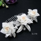 Bridal silver handmade alloy floral porcelain hair comb wedding tiara hair accessories regal SL1758