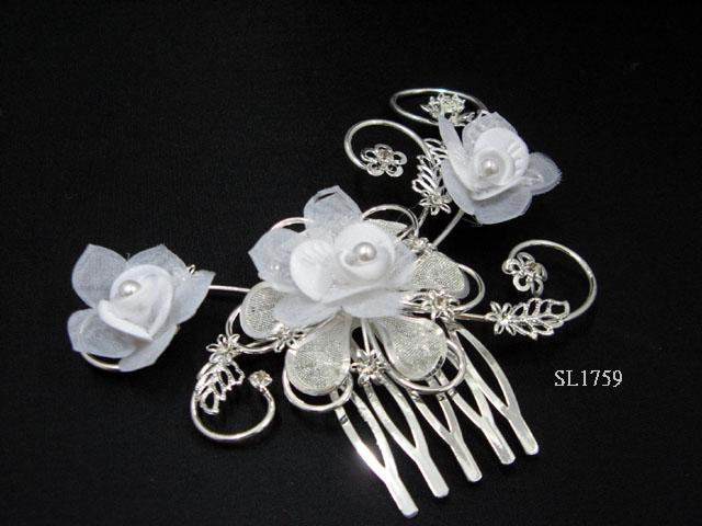 Bridal silver handmade floral organza hair comb,wedding tiara headpiece hair accessories SL1759