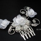 Bridal silver handmade floral organza hair comb,wedding tiara headpiece hair accessories SL1759