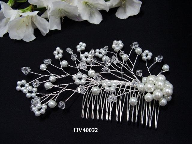 Bridal silver handmade floral pearl hair comb,bride hair accessories wedding tiara regal 4032