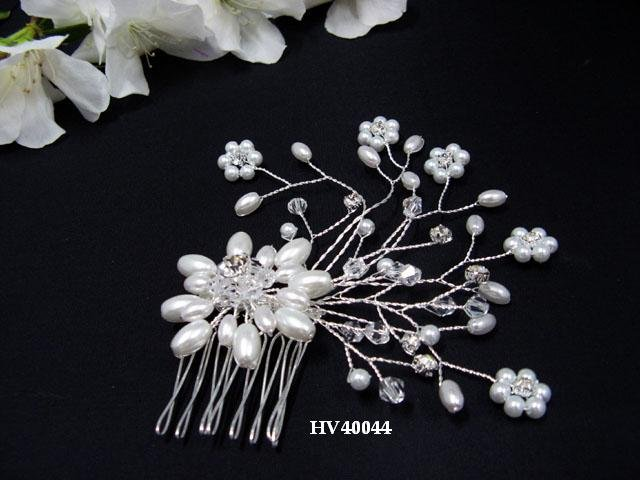 Bridal silver handmade headpiece,bridesmaid hair accessories floral pearl comb 4044***FREE SHIPPING
