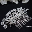 Bridal silver handmade headpiece,bridesmaid hair accessories floral butterfly pearl comb 4050