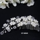 Bridal silver handmade headpiece,new bridesmaid hair accessories floral crystal pearl comb 4060