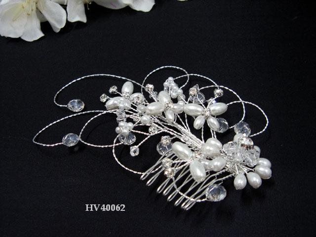 Bridal silver handmade headpiece,new bridesmaid hair accessories floral butterfly pearl comb 4062