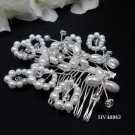 Bridal silver handmade headpiece,bridesmaid hair accessories floral butterfly pearl comb 4063