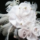 Bridal handmade ostrich feather floral crystal tiara,bridesmaid hair accesssories pearl comb 52w