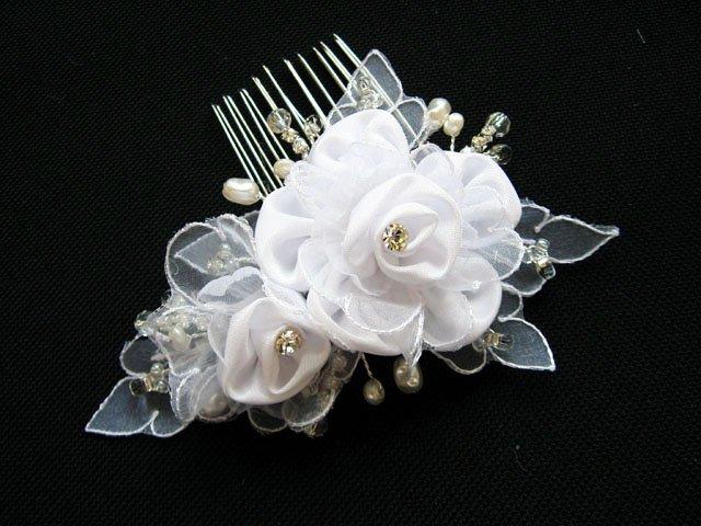 Bridal handmade silver satin organza floral tiara,bridesmaid hair accessories pearl comb 54w
