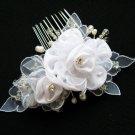 Bridal handmade silver satin tiara,bridesmaid hair accesssories pearl comb 54w **FREE SHIPPING
