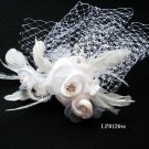 Bridal handmade silver satin feather floral net tiara,bridesmaid hair accessories pearl comb 126